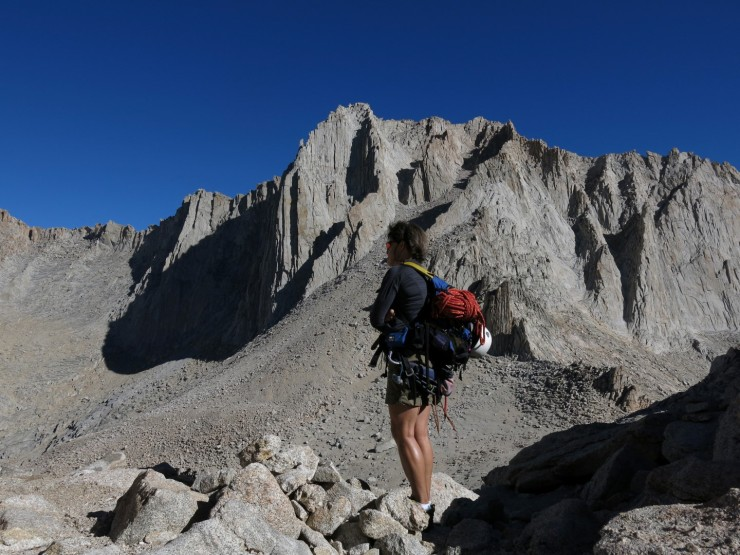 Fishhook Arete is the long curving ridge just to the left of Betsy's head