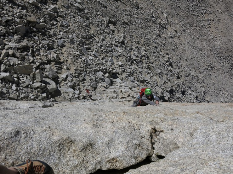 Howie lead climbing the steep first pitch