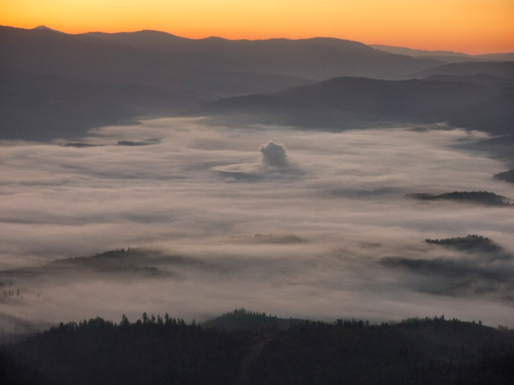 Valley fog before sunrise