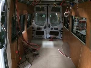 SMB photo: Paneling and wiring in.