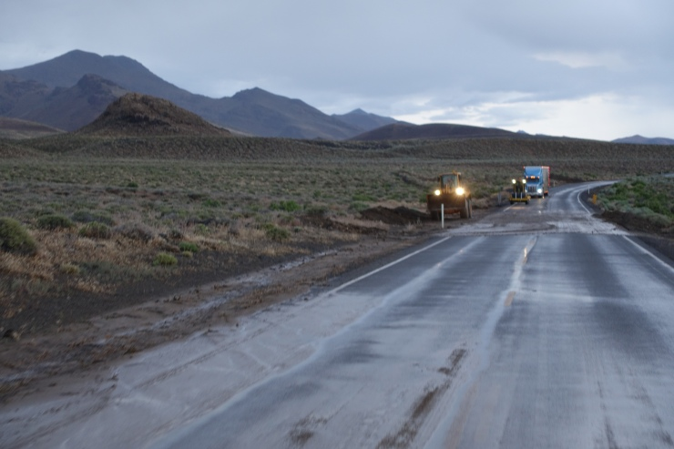 Nevada dept. of trans. crew quick to clear the mud off the road.