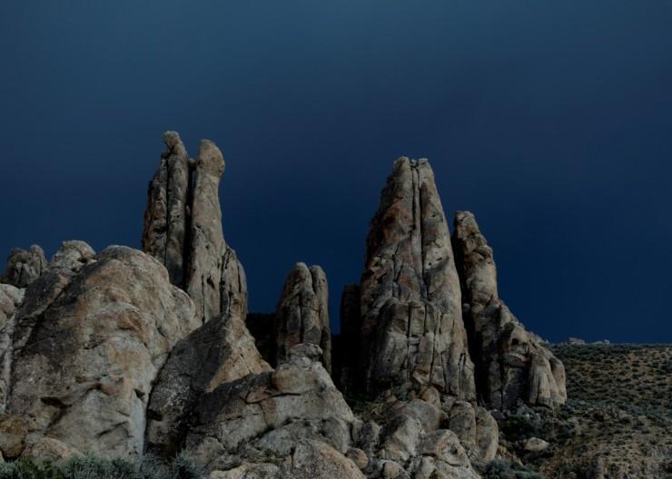Storm clouds behind spires